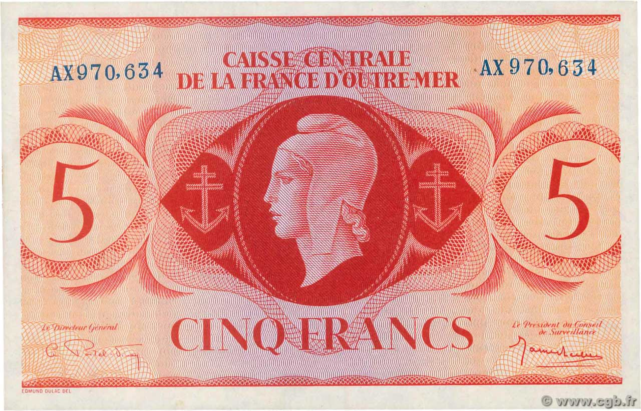 5 Francs  FRENCH EQUATORIAL AFRICA  1944 P.15b UNC-