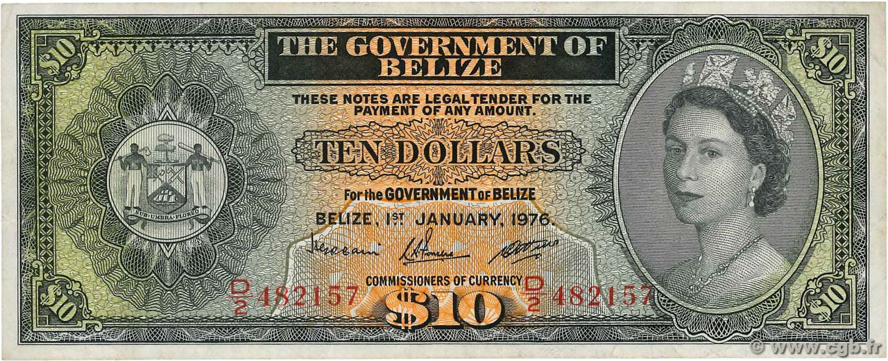 10 Dollars BELIZE  1976 P.36c TTB