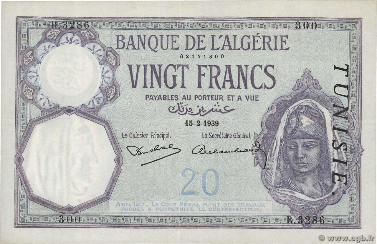 20 Francs TUNISIE  1939 P.06b SUP+