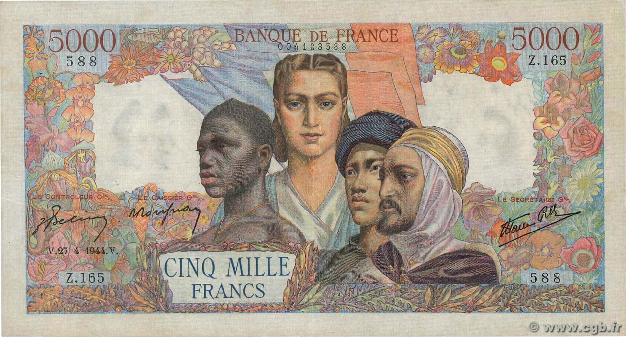 5000 Francs EMPIRE FRANÇAIS  FRANCE  1944 F.47.07 TTB+