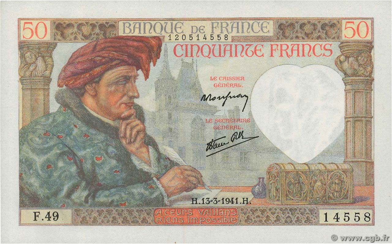50 Francs JACQUES CŒUR FRANCE  1941 F.19.07 pr.NEUF