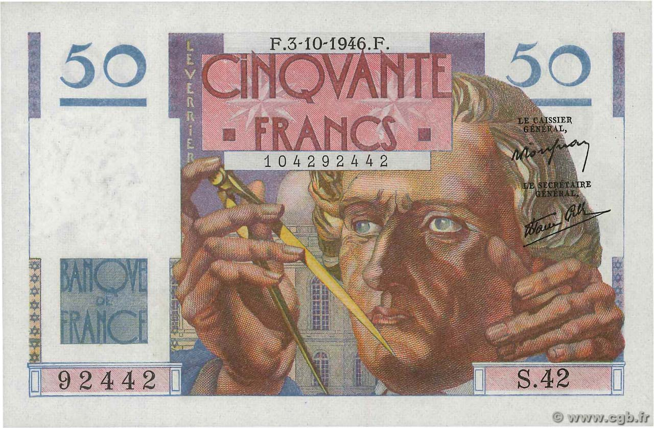 50 Francs LE VERRIER FRANCE  1946 F.20.06 NEUF