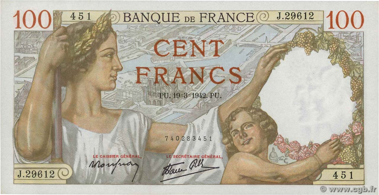 100 Francs SULLY FRANCE  1942 F.26.68 NEUF
