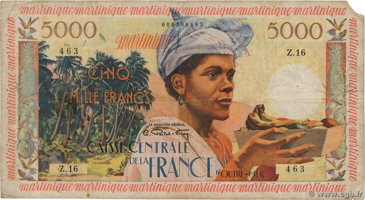 5000 Francs Antillaise  MARTINIQUE  1956 P.36a fS