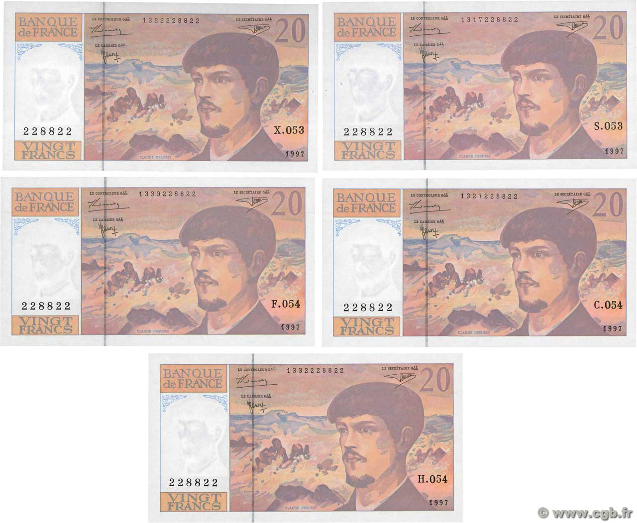20 Francs DEBUSSY Modifié Lot FRANCE  1997 F.66ter.02 UNC