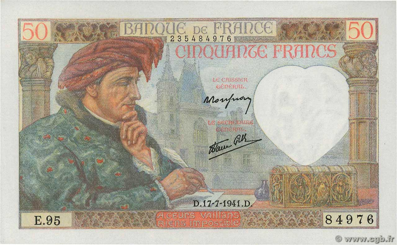 50 Francs JACQUES CŒUR  FRANCE  1941 F.19.12 NEUF