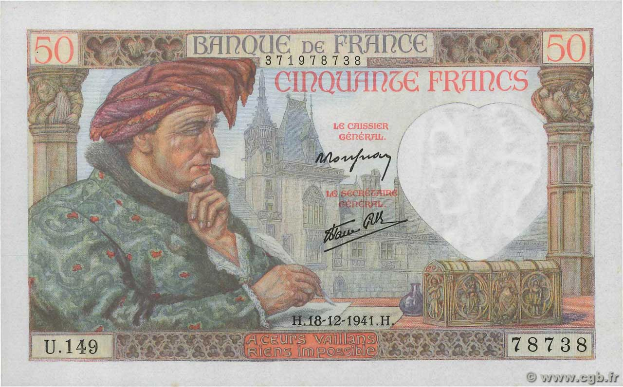 50 Francs JACQUES CŒUR  FRANCE  1941 F.19.17 pr.NEUF