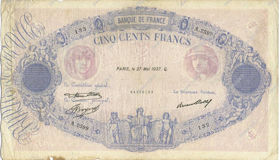 500 Francs BLEU ET ROSE FRANCE  1937 F.30.38 TB