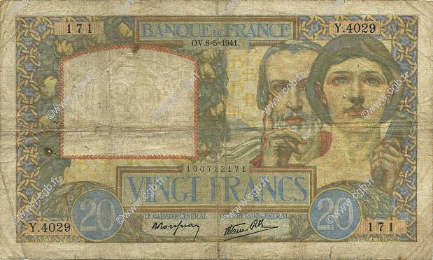 20 Francs TRAVAIL ET SCIENCE FRANCE  1941 F.12.14 B+