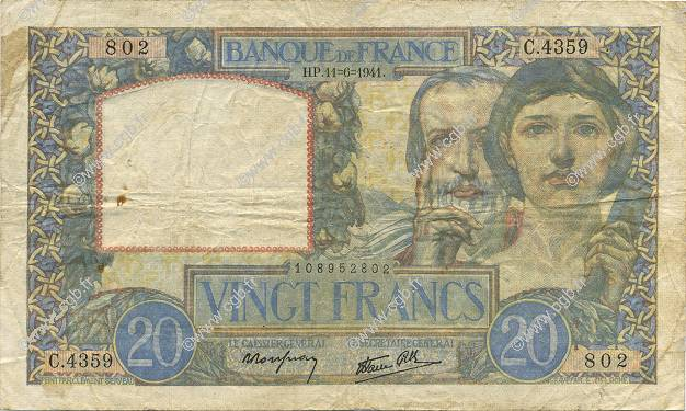 20 Francs TRAVAIL ET SCIENCE FRANCE  1941 F.12.15 TTB