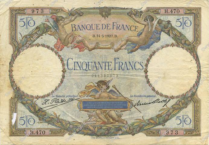 50 Francs LUC OLIVIER MERSON FRANCE  1927 F.15.01 TB
