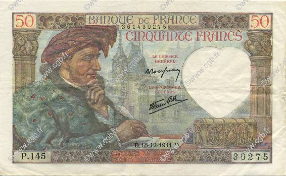 50 Francs JACQUES CŒUR FRANCE  1941 F.19.17 SUP