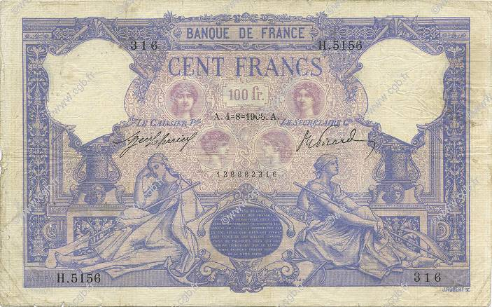 100 Francs BLEU ET ROSE  FRANCE  1908 F.21.23 B+ à TB