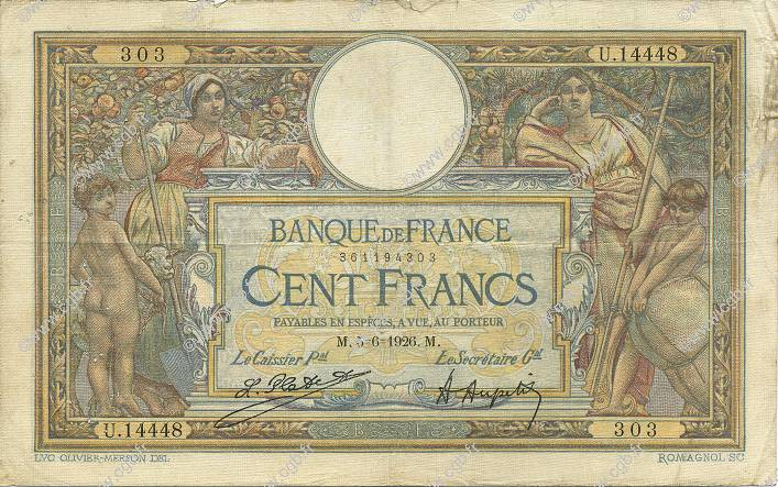 100 Francs LUC OLIVIER MERSON grands cartouches FRANCE  1926 F.24.04 TB