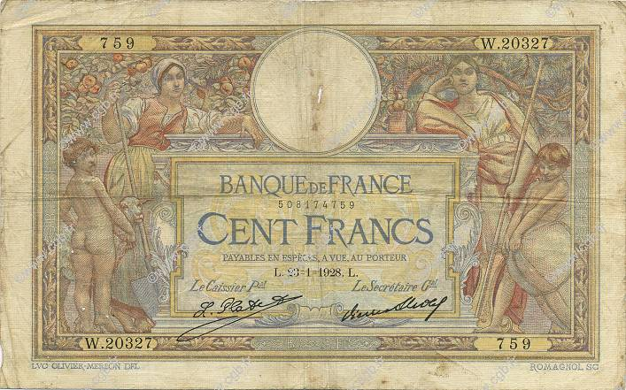 100 Francs LUC OLIVIER MERSON grands cartouches FRANCE  1928 F.24.07 B+