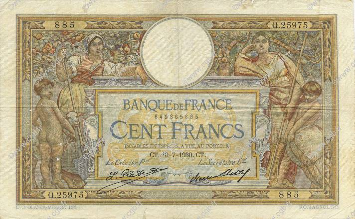 100 Francs LUC OLIVIER MERSON grands cartouches FRANCE  1930 F.24.09 TB+