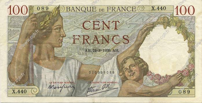 100 Francs SULLY FRANCE  1939 F.26.05 TTB