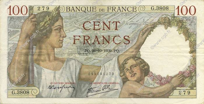 100 Francs SULLY FRANCE  1939 F.26.12 TTB+
