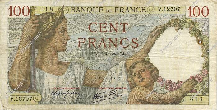 100 Francs SULLY FRANCE  1940 F.26.33 TB+