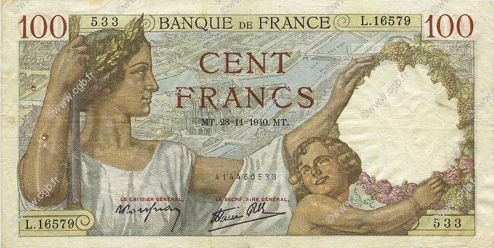 100 Francs SULLY  FRANCE  1940 F.26.41 TTB