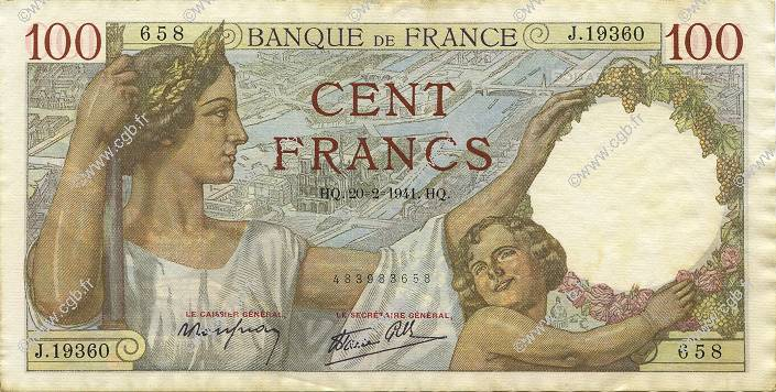 100 Francs SULLY FRANCE  1941 F.26.47 SUP