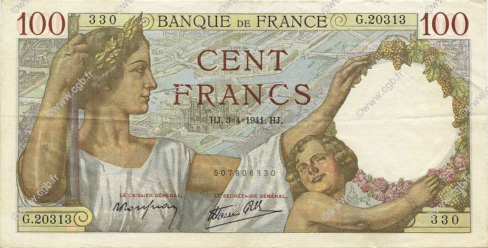 100 Francs SULLY FRANCE  1941 F.26.49 pr.SUP
