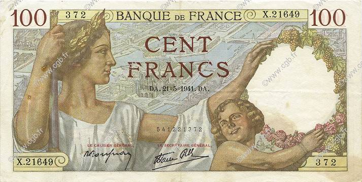 100 Francs SULLY FRANCE  1941 F.26.52 TTB+