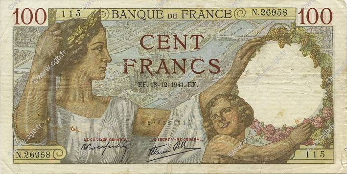 100 Francs SULLY FRANCE  1941 F.26.63 TTB