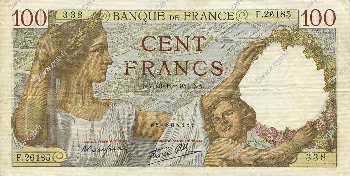 100 Francs SULLY FRANCE  1941 F.26.61 TTB