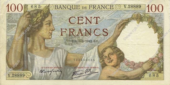 100 Francs SULLY FRANCE  1942 F.26.67 SUP