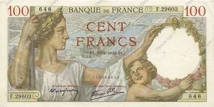 100 Francs SULLY FRANCE  1942 F.26.68 SUP