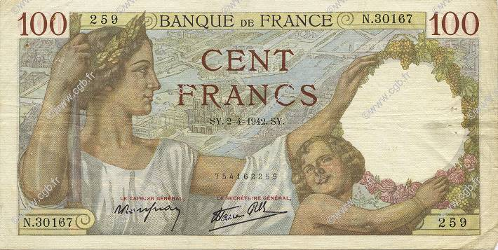 100 Francs SULLY FRANCE  1942 F.26.69 TTB