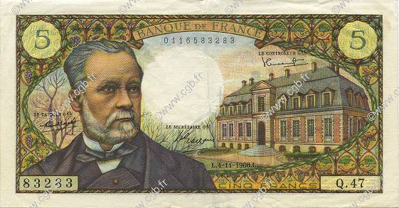 5 Francs PASTEUR FRANCE  1966 F.61.04 pr.SUP