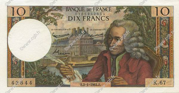 10 Francs VOLTAIRE  FRANCE  1964 F.62.07 SUP+