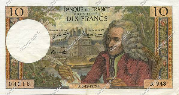 10 Francs VOLTAIRE  FRANCE  1973 F.62.65 SUP+