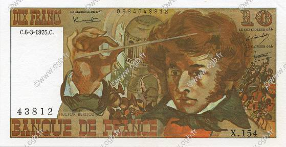 10 Francs BERLIOZ FRANCE  1975 F.63.09 SPL+