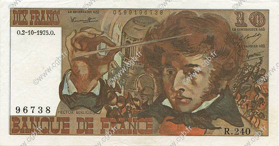 10 Francs BERLIOZ FRANCE  1975 F.63.13 SUP