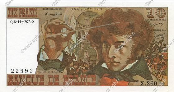10 Francs BERLIOZ FRANCE  1975 F.63.14 SPL