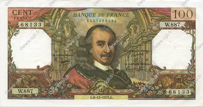 100 Francs CORNEILLE FRANCE  1975 F.65.50 pr.SPL
