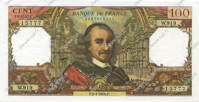 100 Francs CORNEILLE FRANCE  1976 F.65.51 SPL