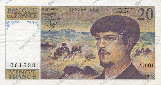 20 Francs DEBUSSY  FRANCE  1980 F.66.01A1 SUP