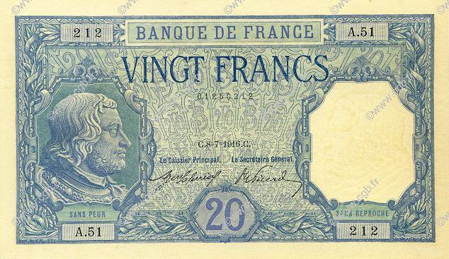 20 Francs BAYARD  FRANCE  1916 F.11.01 SPL