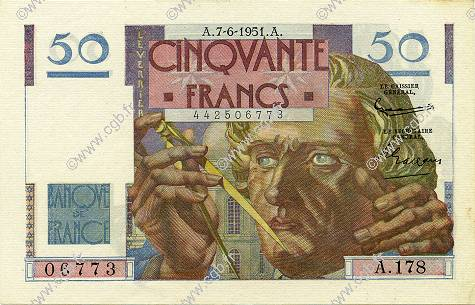 50 Francs LE VERRIER  FRANCE  1951 F.20.18 pr.SPL