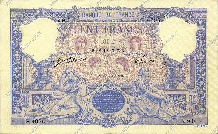100 Francs BLEU ET ROSE FRANCE  1907 F.21.22 TTB+
