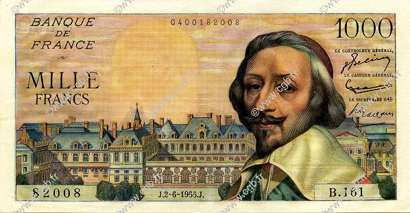 1000 Francs RICHELIEU FRANCE  1955 F.42.14 SPL