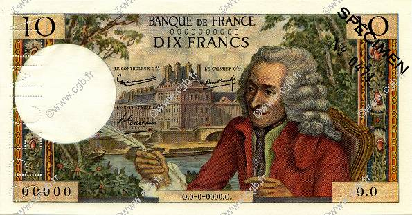 10 Francs VOLTAIRE FRANCE  1963 F.62.00s1a NEUF