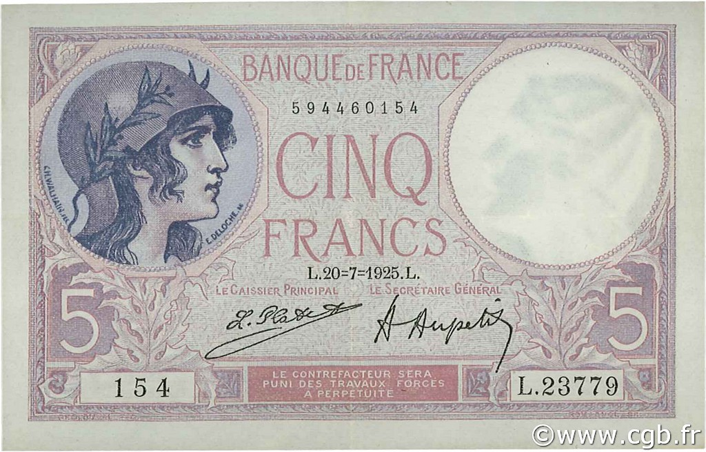 5 Francs VIOLET FRANCE  1925 F.03.09 pr.SUP