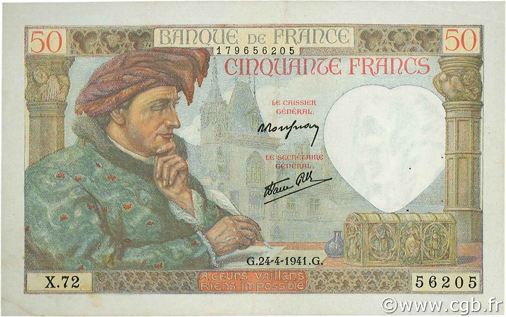 50 Francs JACQUES CŒUR FRANCE  1941 F.19.09 TTB à SUP