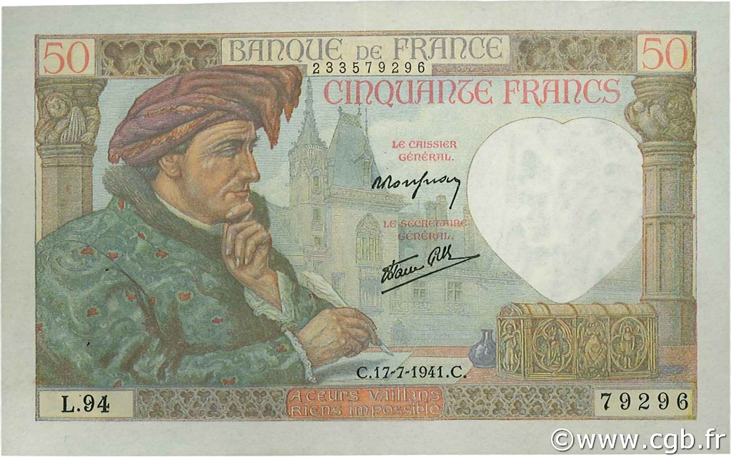 50 Francs JACQUES CŒUR FRANCE  1941 F.19.12 SUP