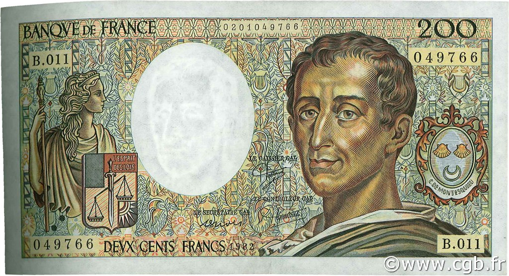 200 Francs MONTESQUIEU FRANCE  1982 F.70.02 TTB